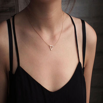 Geometric Triangle Necklace In Gold Or Rose Gold Dainty Minimalist Jewelry