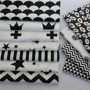 100% cotton twill cloth nordic wind black white series fan crown cross chevron stars fabrics for kids bedding handwork patchwork