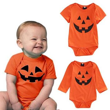 Dropshipping Halloween Newborn Baby Toddler Girls Boys Orange Romper Jumpsuit Clothes Cotton One-piece Outfit 0-18M Autumn