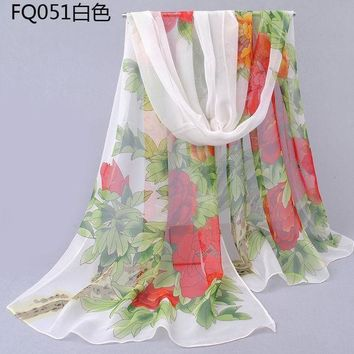 Newest Design Lovely Silk Scarf Floral Pashmina Big Flower Scarves Women Long Rectangle Spring And Autumn Female Peony Flowers