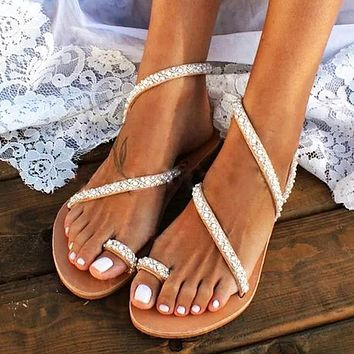 Fashion hot seller new toe sandals women flat rhinestone sandals large size beach sandals