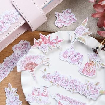 Japanese Style Cherry Blossom Stickers Decorative Stationery Craft Stickers Scrapbooking DIY  Stick Label