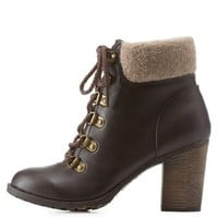Brown Sweater-Cuffed Hiking Booties by Charlotte Russe