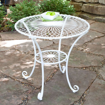Round 30 Inch Outdoor Patio Bistro Table In Gloss White Steel With Floral  Pattern