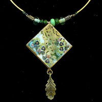 Ceramic Pendant  Necklace Vintage Style Square Green by rachelcart
