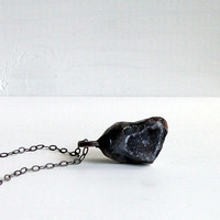 Geode Pendant Druzy Pendant Geode Necklace Charcoal Grey Stone Pendant Silver Statement Necklace Mineral Pendant Raw Black White Grey