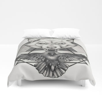 Wolf and Crow - Emblem Duvet Cover by Puddingshades