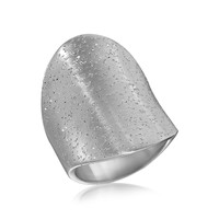 Sterling Silver Tapered Concave Rhodium Plated Ring with Stardust Texture: Size 8