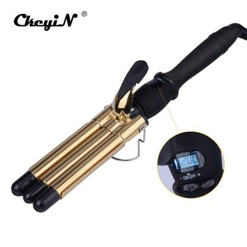 CkeyiN LCD 19MM Ceramic Curling Iron Triple Barrel Hair Curlers Styler Fast Heating Hair Styling Tool Magic Spiral Curling Wand