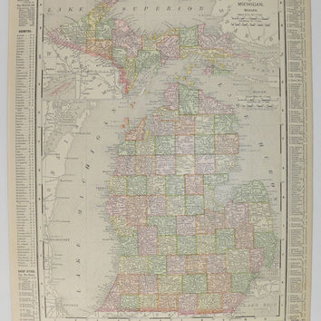 Vintage Michigan Map Upper Peninsula UP Map Detroit 1899 State Map of Michigan, Gift for Parents, Lake Superior Map, Gift for Father, MI Map