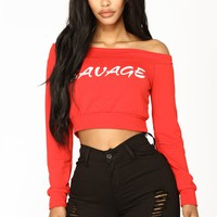 Savage Vibes Long Sleeve Top - Red