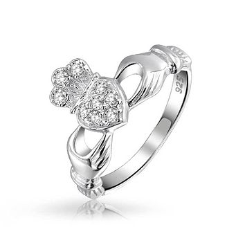BFF Celtic Irish Friendship CZ Heart Claddagh Ring 925 Sterling Silver