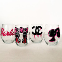 Ultimate Girly Stemless wine glass set  - 4 glasses - 21 oz