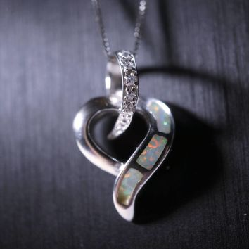Large Full Sterling Silver Opal Heart Necklace