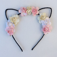 Flower cat ear headband, festival wear, ariana grande concert attire, music festival, cat ears, ultra, edc,