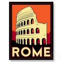 rome italy coliseum europe vintage retro travel post card from Zazzle.com