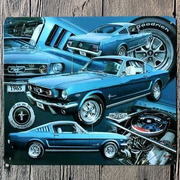 Custom Neon Sign 1965 Blue Car Metal Poster Ford Mustang Tin Sign Wall Decor Vintage Bar Iron Tin Metal Painting Plate Beer