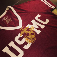 USMC+EGA//Ladies Maroon V-Neck Ringer T-shirt//