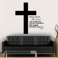 Wall Decal Vinyl Sticker Decals Art Decor Design Cross Jesus Christ God Lord Psalm Pray Religion Prayer Quote Bible Sign Bedroom Dorm(r1174)