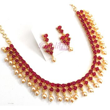 Pearl bead surrounded crystal bead Choker Necklace and Earring set