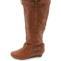 Bamboo Belted Knee-High Sliver Wedge Boots - Chestnut
