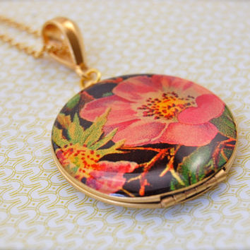 The Retro Floral Locket  Vintage by verabel on Etsy