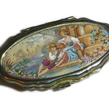 Romantic Lovers Pill Box Case Tin, Victorian Revival Vintage Pill Vitamin Medicine Supplement Storage Container, Vanity Case, Valentine Gift