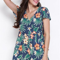 V-Neck Floral Printing Shirred Chiffon Playsuits