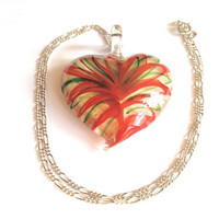 Sterling silver necklace, red and green glass heart pendant, love pendant, clear glass, love pendant, romantic jewellery