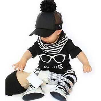 Toddler Boys Short-Sleeved T + Stripe Pants