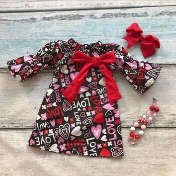 baby Valentine's day infant girl dresses cotton love heart print dress kids bow clothes with matching necklace and headband set