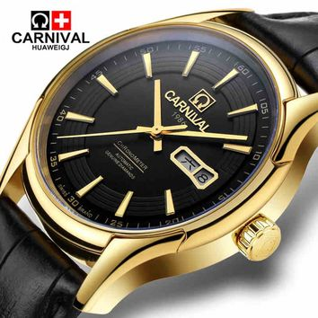 Carnival watch fully-automatic mechanical watch male waterproof strap table double calendar cutout genuine leather mens watch