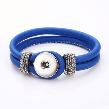 Snap Button PU Leather Love Bracelet & Bangles Fit