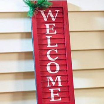 Red Christmas Welcome Shutter Porch Sign Wall Hanging Art Holiday Home Decor