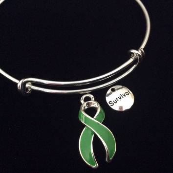 Survivor Green Awareness Ribbon Expandable Charm Bracelet Adjustable Bangle Gift Lyme Disease Cerebral Palsy Kidney Cancer