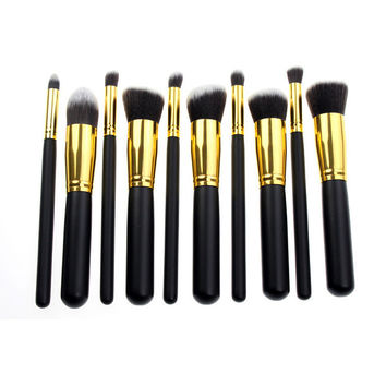 Black 10-pcs Gold Make-up Brush Set = 4831034372