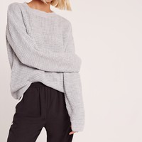 Missguided - Waffle Knit Crew Neck Jumper Grey
