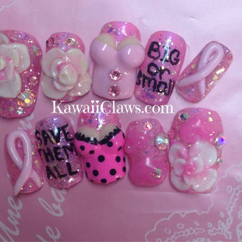 Big or Small, Save Them All Breast Cancer support awareness Pink 3D Nails with Acrylic Art