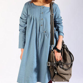 Linen pleated babydoll long sleeved dress by MaLieb on Etsy