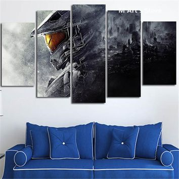 Halo Video Game Canvas Wall Art Five Piece