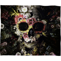Ali Gulec Garden Skull Fleece Throw Blanket