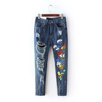 Cartoon Patch Zipper Pockets Ripped Denim Pants