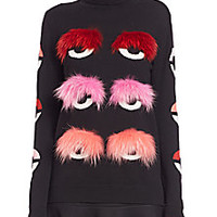 Fendi - Fur-Trim Bug-Eye Turtleneck Top - Saks Fifth Avenue Mobile