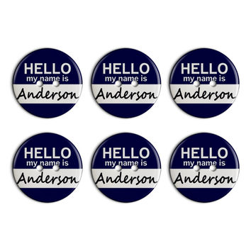 Anderson Hello My Name Is Plastic Resin Button Set of 6