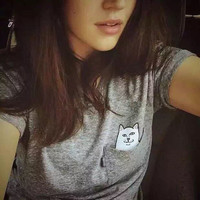 Hidden Middle Finger in Pocket Cat Appliques Printed Casual Party Holiday Floral Printed Short Sleeve T-shirt Top Shrirt _ 5027