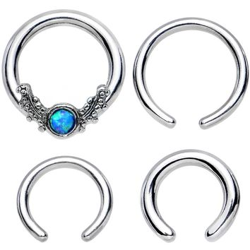 16 Gauge and 14 Gauge Faux Blue Opal Interchangeable BCR Set
