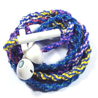 Retro Tie-Dye Remix MyBuds Wrapped Headphones Tangle Free Earbuds Your Choice of Headphones