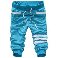 Fashion Casual Loose Mens Cropped Shorts Sweatpants Trousers Harem 5 Colors