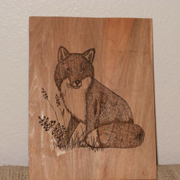 Wood burned Fox on Cypress Wood Wall Plaque, Wood burned Fox Wall Hanging, Hand burned Fox, Wooden Fox
