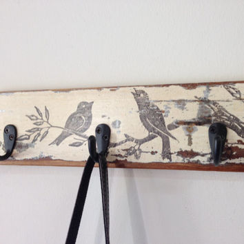 Reclaimed wood coat or key hook rack with vintage bird graphic - rustic, antique, distressed, shabby chic